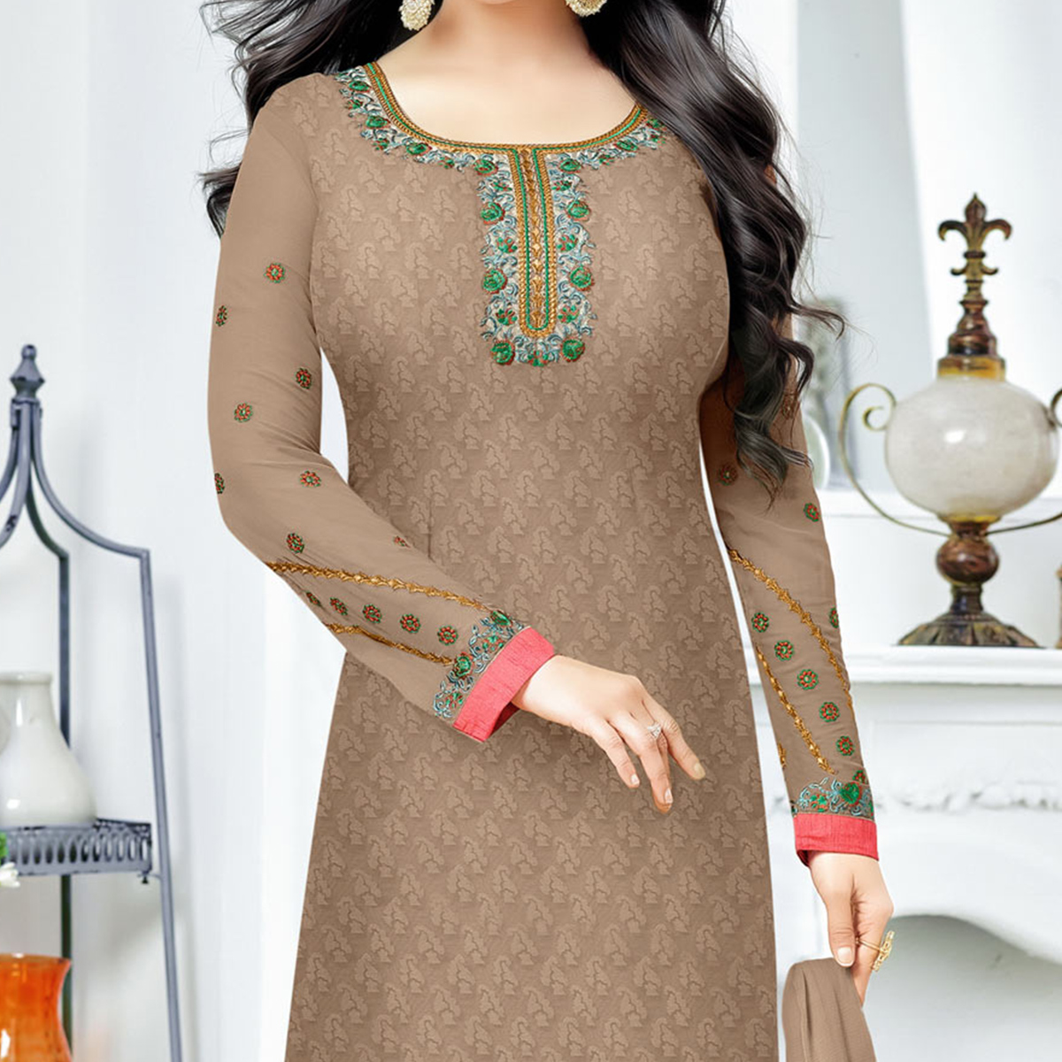 Grey Party Wear Brasso Embroidered Designer Salwar Suit