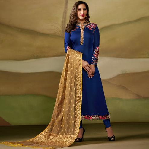 Alluring Blue Colored Party Wear Embroidered Satin - Georgette Salwar Suit