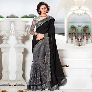 Jazzy Black-Grey Colored Party Wear Embroidered Lycra & Net Saree