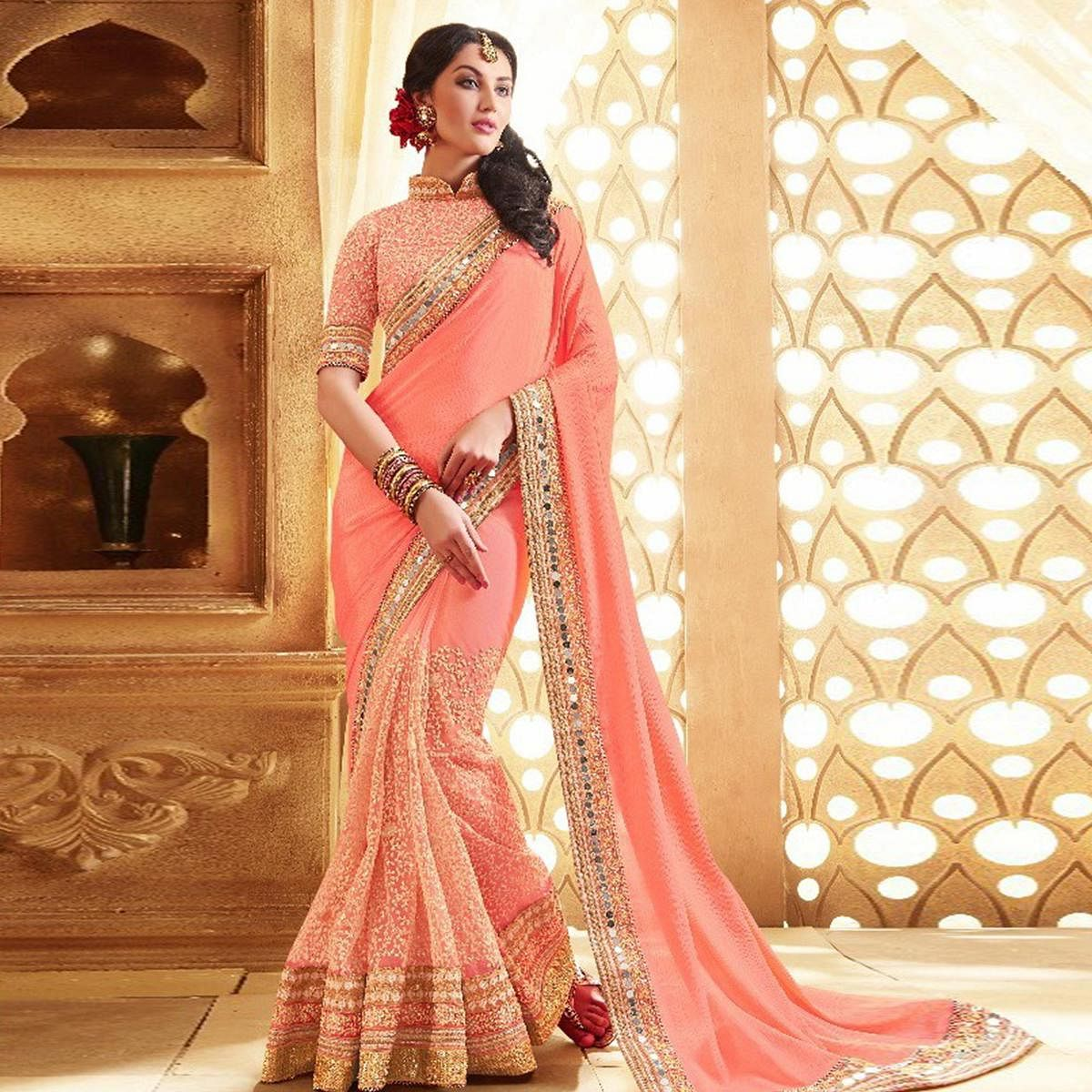 Appealing Peach Colored Party Wear Embroidered Georgette Saree