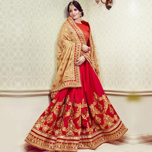 Prominent Red-Beige Colored Party Wear Embroidered Georgette Saree