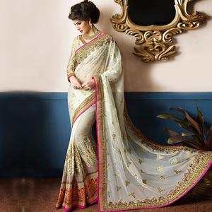 Capricious Off white Colored Party Wear Embroidered Georgette Saree