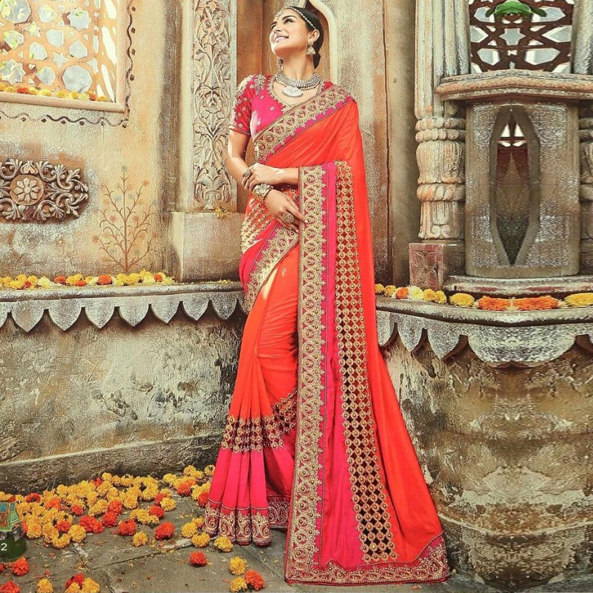 Adorning Orange-Pink Colored Party Wear Embroidered Paper Silk Saree