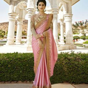 Captivating Pink Colored Party Wear Embroidered Georgette Saree