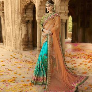 Flirty Sky Blue-Orange Colored Party Wear Embroidered Net & Georgette Saree
