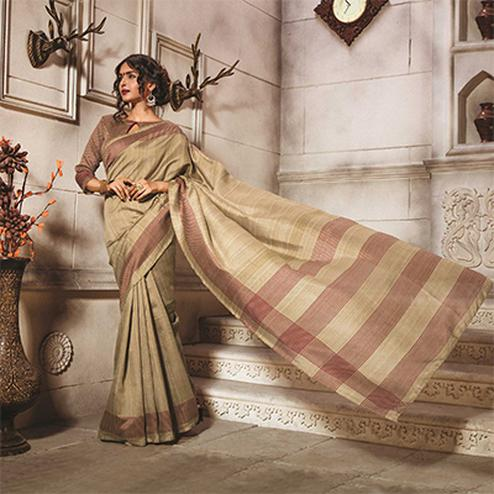 Beige Casual Wear Bhagalpuri Saree