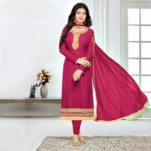 Magenta Color Party Wear Embroidered Designer Salwar Suit