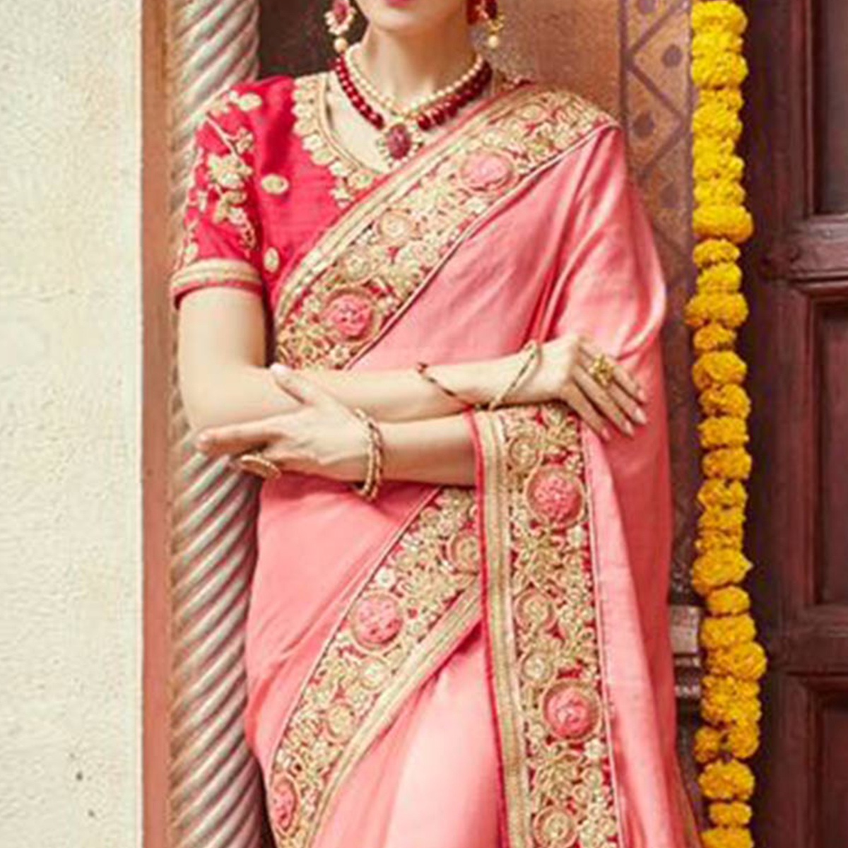 Hypnotic Pink Colored Party Wear Embroidered Art Silk Saree