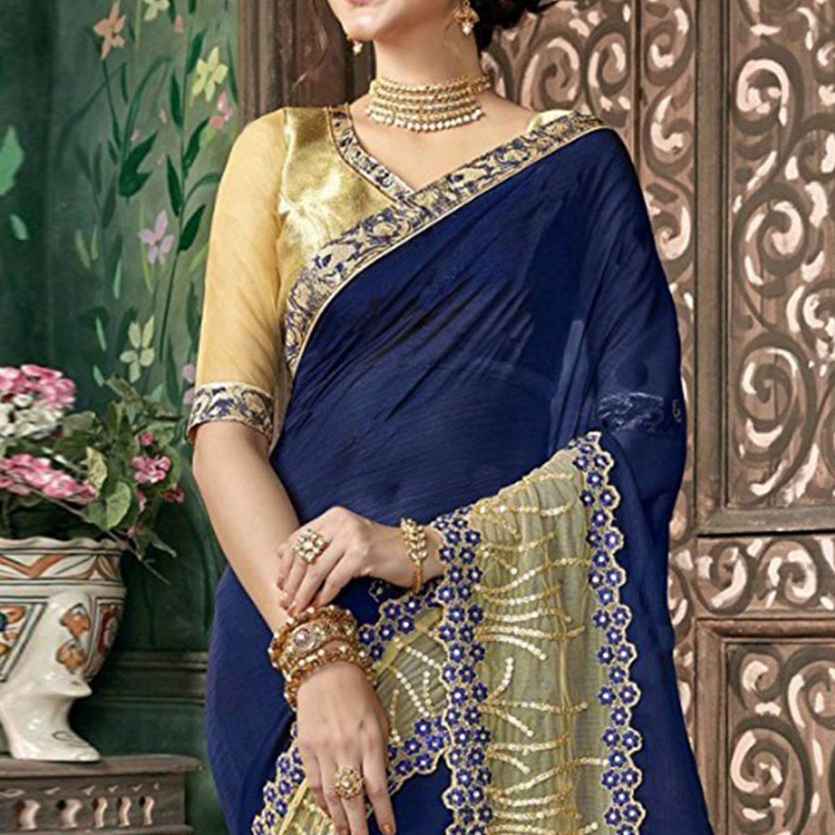 Trendy Navy Blue Colored Party Wear Embroidered Chiffon Saree