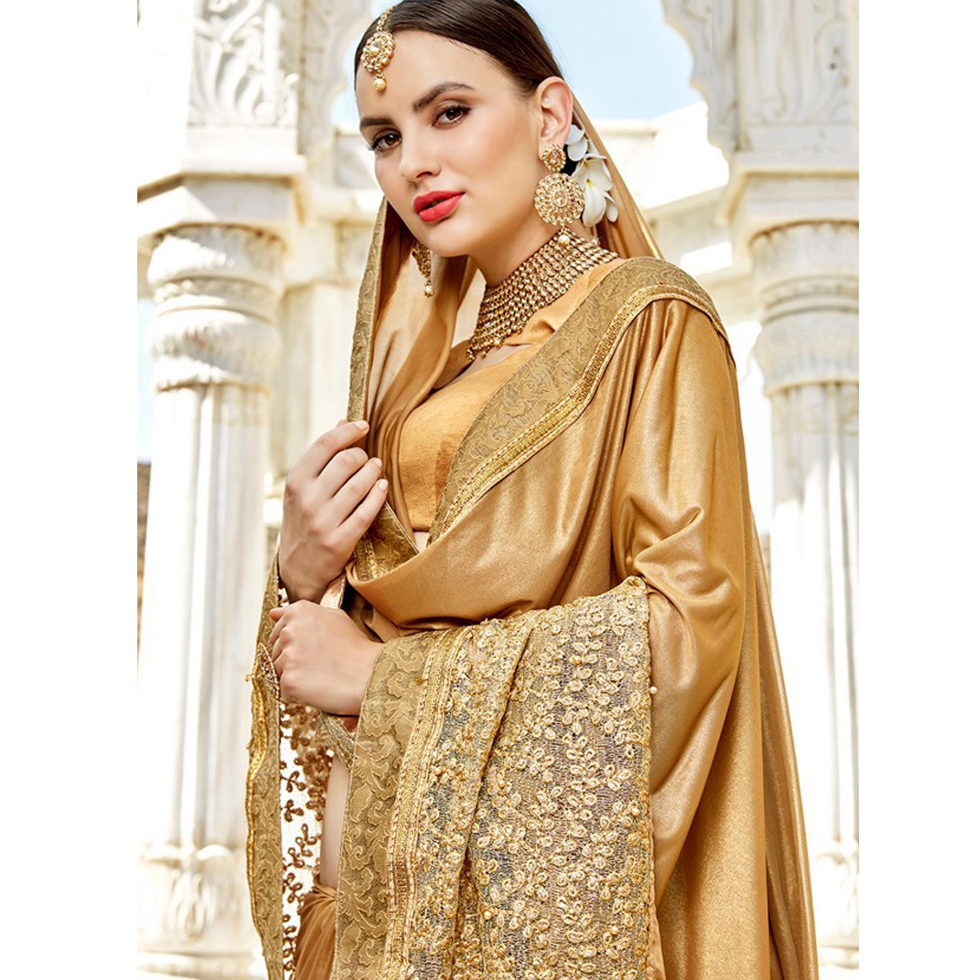 Ideal Golden Colored Party Wear Embroidered Silk Saree