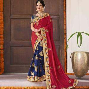 Engrossing Red-Navy Blue Colored Party Wear Embroidered Georgette Saree