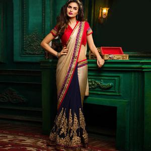 Fantastic Navy Blue-Golden Colored Party Wear Embroidered Chiffon & Art Silk Saree