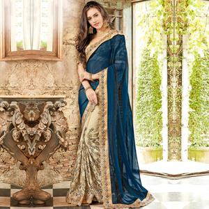 Staring Steel Blue-Beige Colored Party Wear Embroidered Chiffon & Art Silk Saree