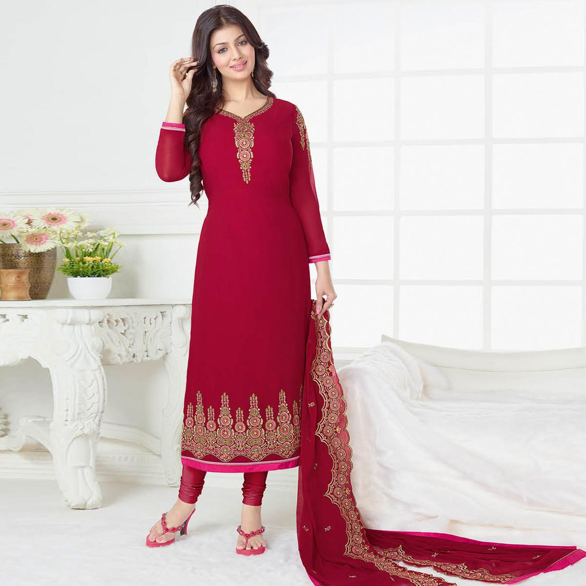 Arresting Red Colored Partywear Embroidered Georgette Suit