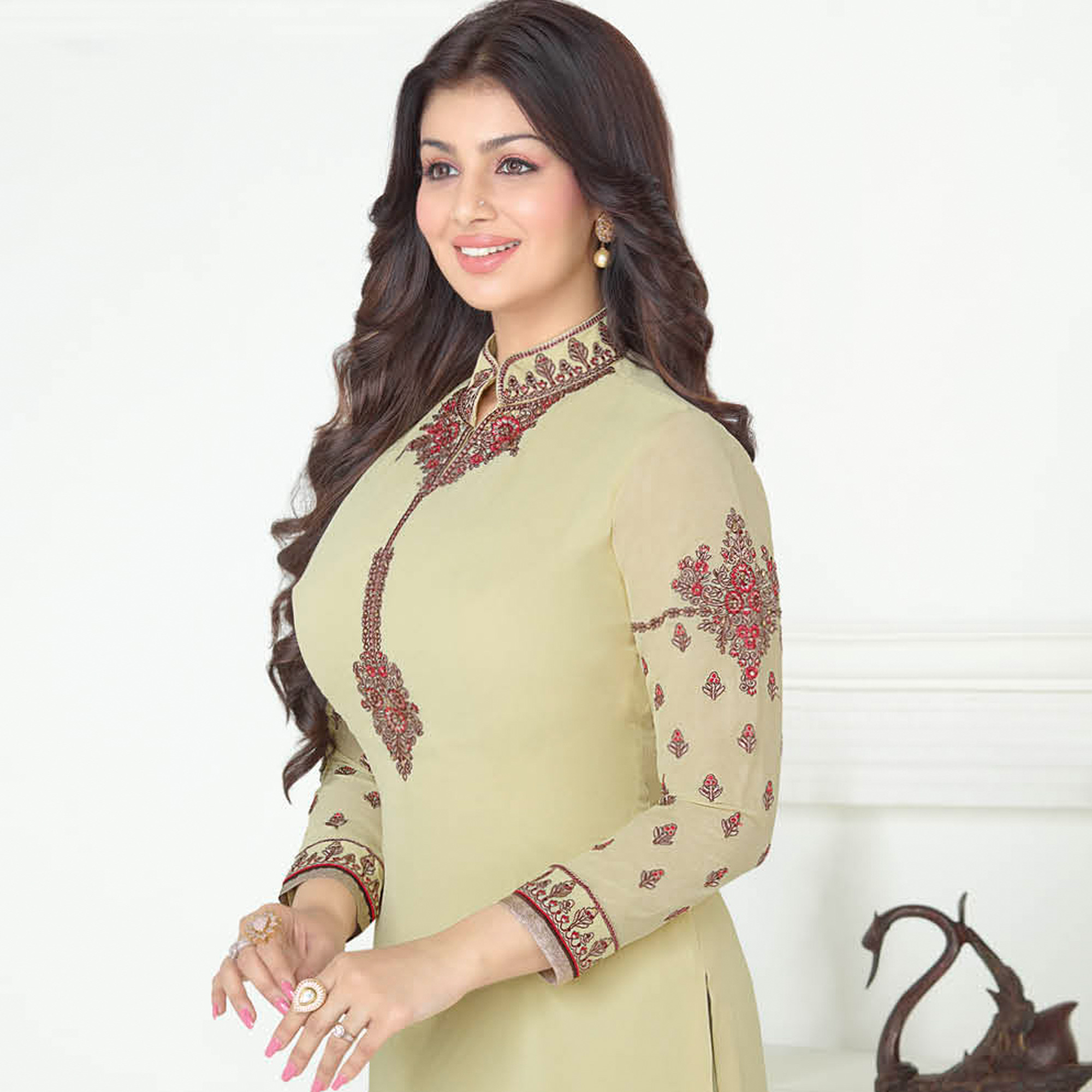 Exceptional Light Yellow Colored Partywear Embroidered Georgette Suit