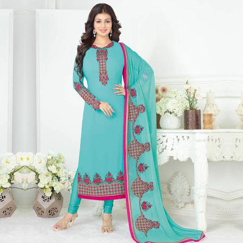 Gleaming Sky Blue Colored Partywear Embroidered Georgette Suit