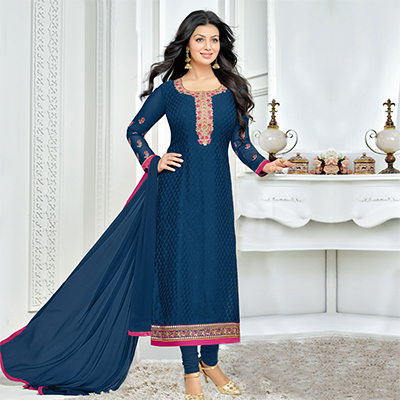 Dark Blue Brasso Long Length Salwar Suit