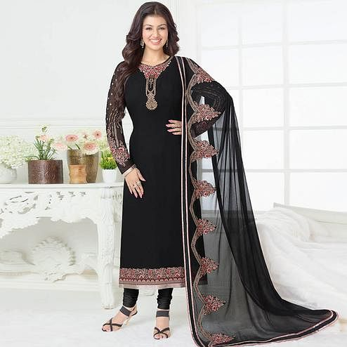 Hypnotic Black Colored Partywear Embroidered Georgette Suit