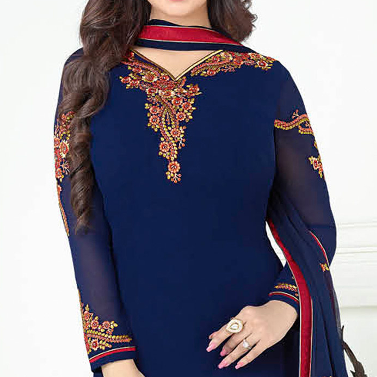 Marvellous Navy Blue Colored Partywear Embroidered Georgette Suit