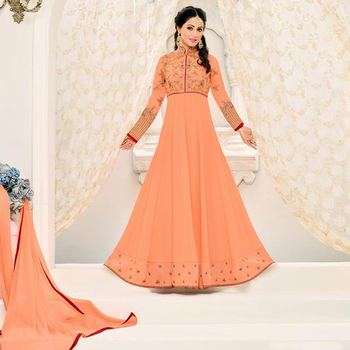 Pleasant Peach Colored Party Wear Embroidered Georgette Anarkali Suit