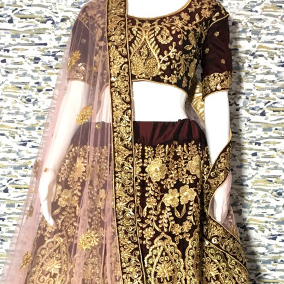 Attractive Maroon Colored Embroidered Party Wear Velvet Lehenga Choli