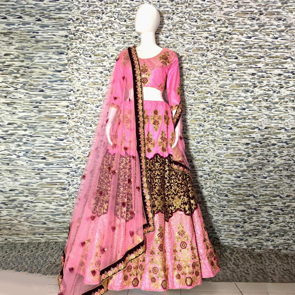 Beautiful Baby Pink Colored Embroidered Party Wear Silk Lehenga Choli