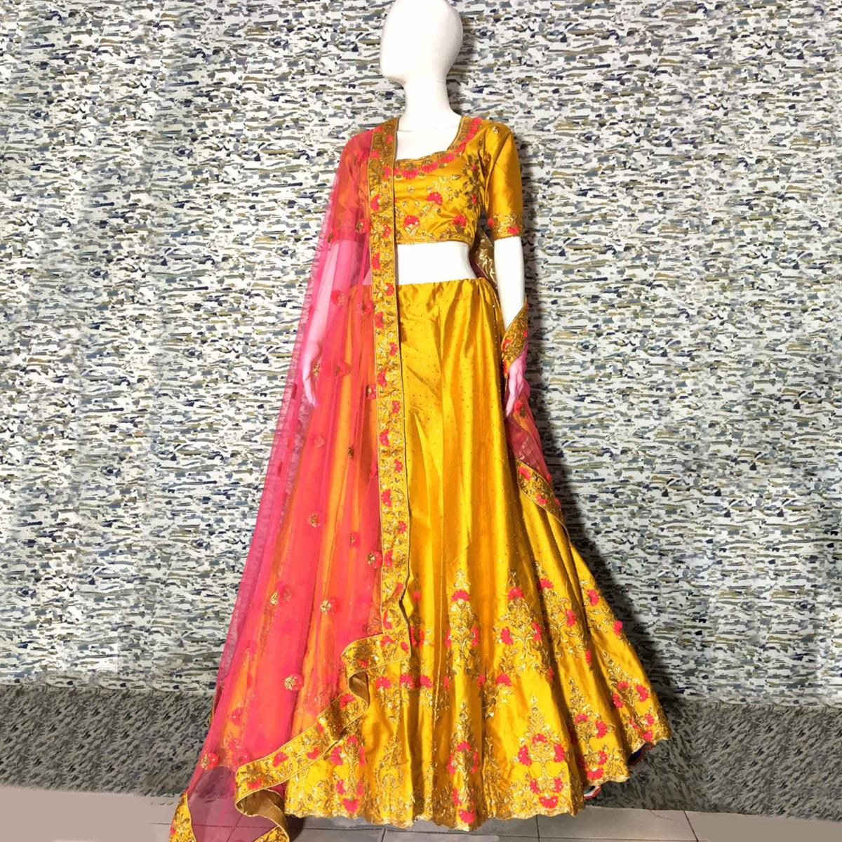 Glorious Gold Yellow Colored Embroidered Party Wear Satin Lehenga Choli