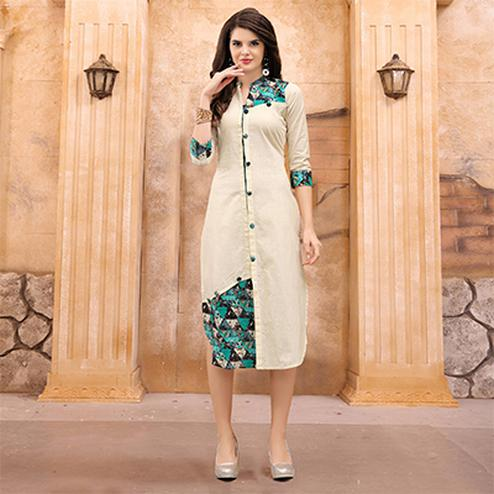 Stylish Cream Partywear Printed Cotton Kurti
