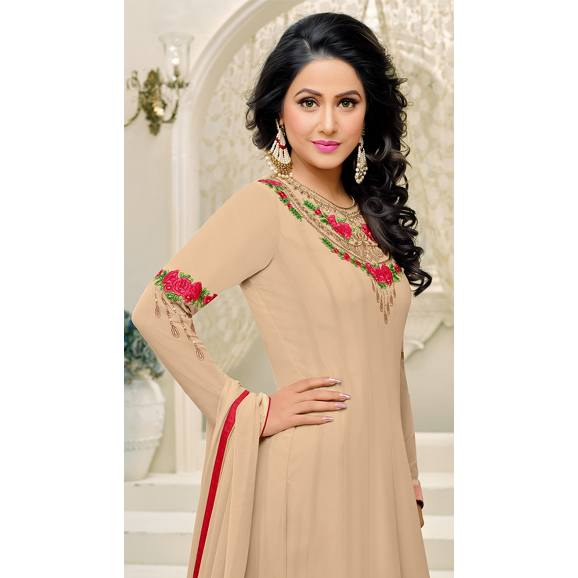 Unique Beige Colored Party Wear Embroidered Georgette Anarkali Suit