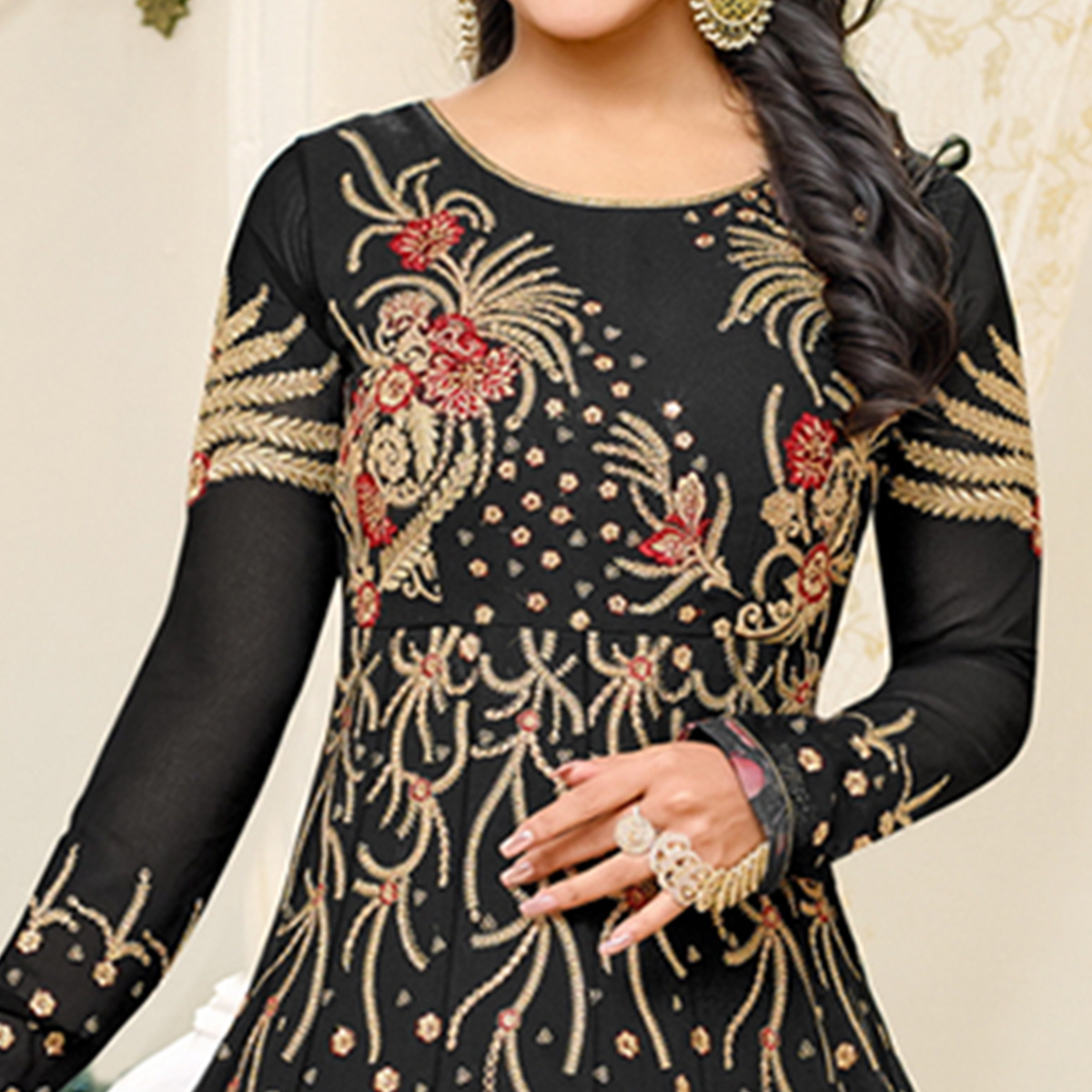 Refreshing Black Colored Party Wear Embroidered Georgette Anarkali Suit