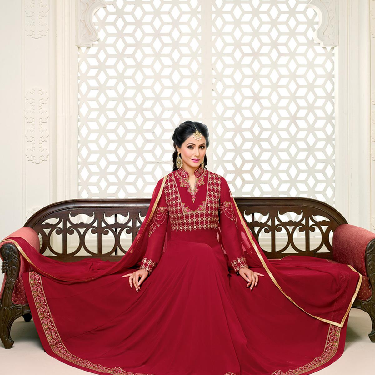 Elegant Red Colored Party Wear Embroidered Georgette Anarkali Suit