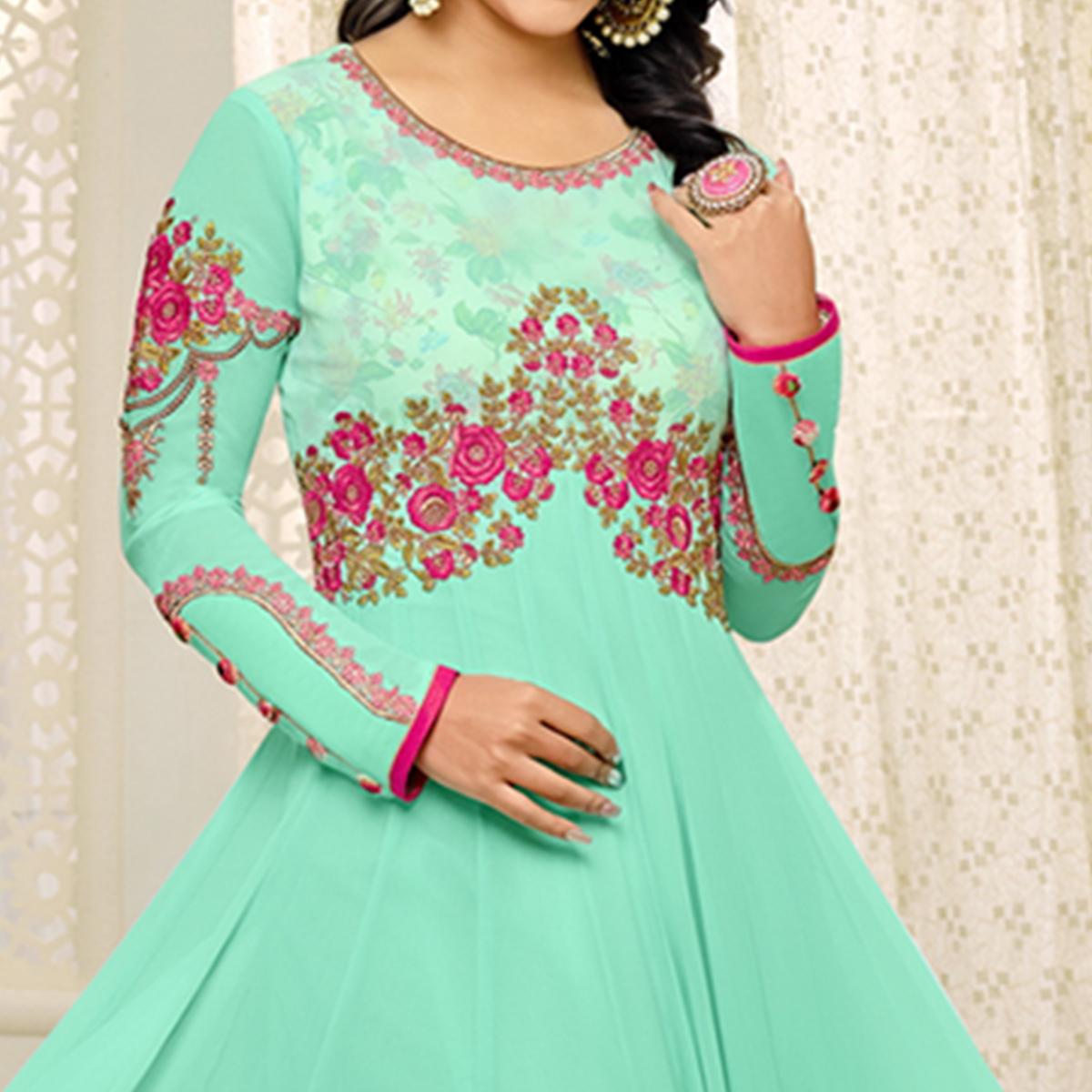 Alluring Turquoise Green Colored Party Wear Embroidered Georgette Anarkali Suit