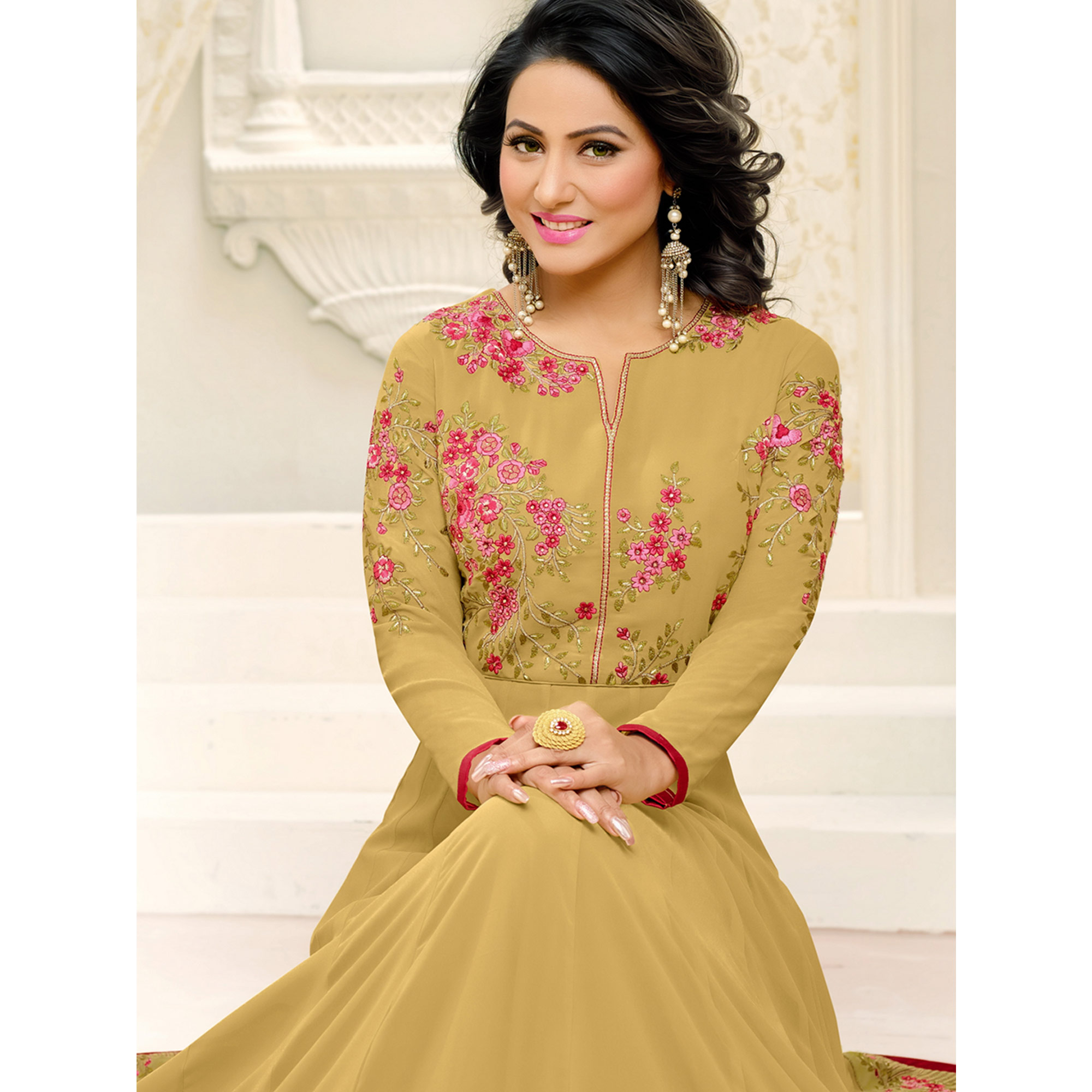 Sensational Golden Yellow Colored Party Wear Embroidered Georgette Anarkali Suit