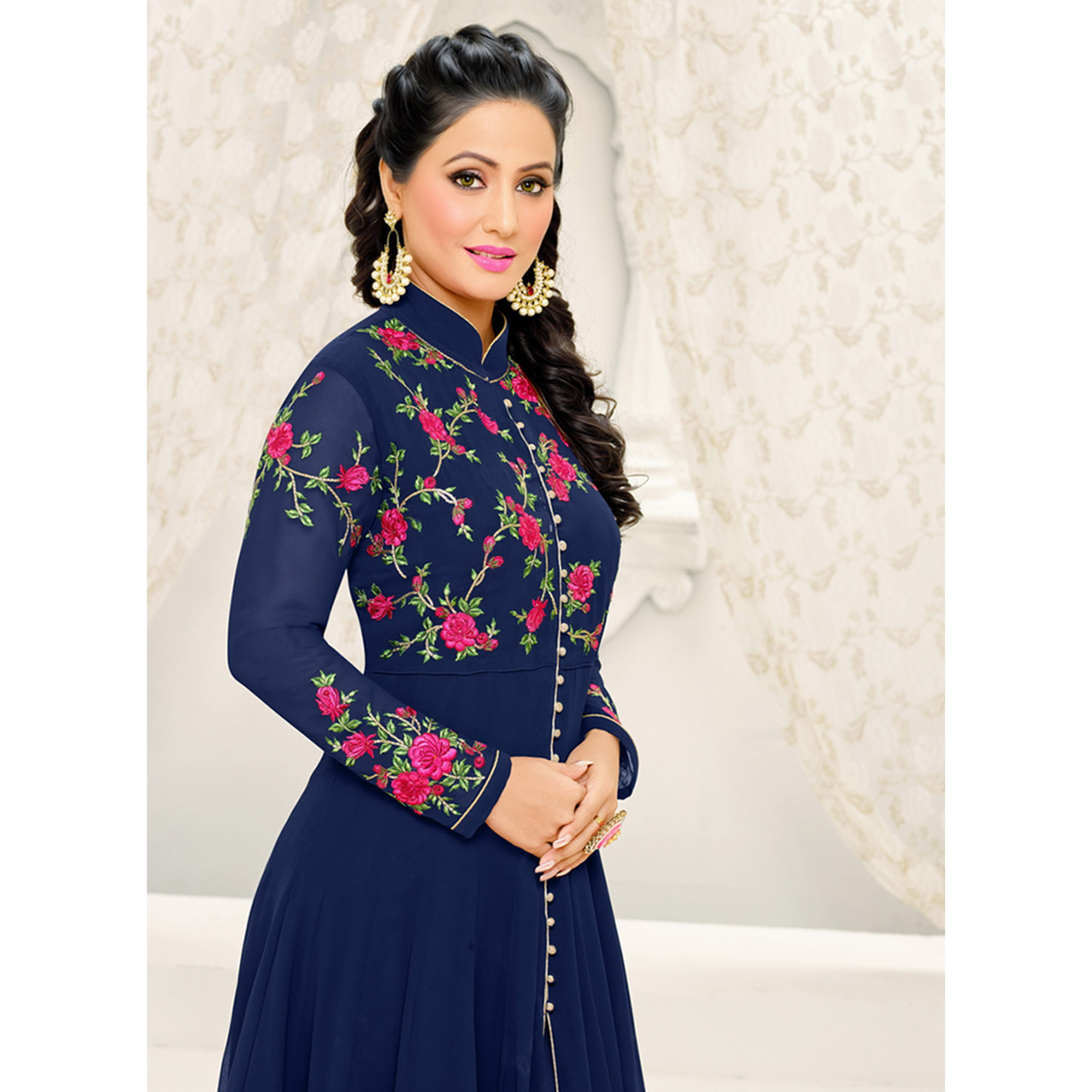 Opulent Navy Blue Colored Party Wear Embroidered Georgette Suit