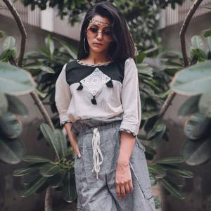 Appealing White-Gray Colored Casual Printed Khadi Cotton Top-Bottom Set