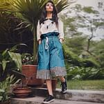 Attractive White-Blue Colored Casual Printed Khadi Cotton Top-Bottom Set