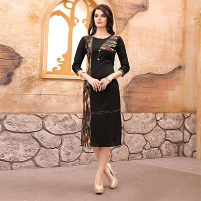 Attractive Black Partywear Printed Cotton Kurti