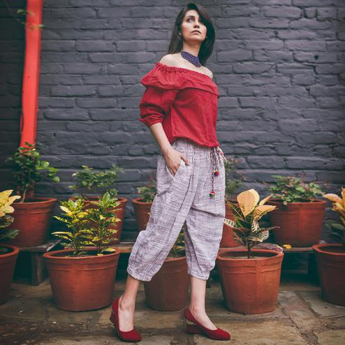 Glowing Red Colored Casual Printed Khadi Cotton Top-Bottom Set