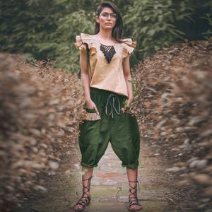 Stunning Beige-Green Colored Casual Printed Khadi Cotton Top-Bottom Set