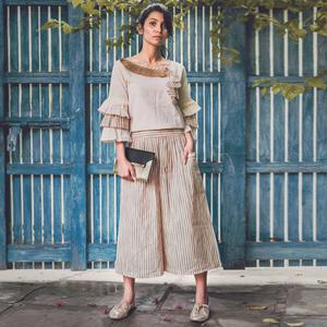 Energetic Off-White Colored Casual Printed Khadi Cotton Top-Bottom Set
