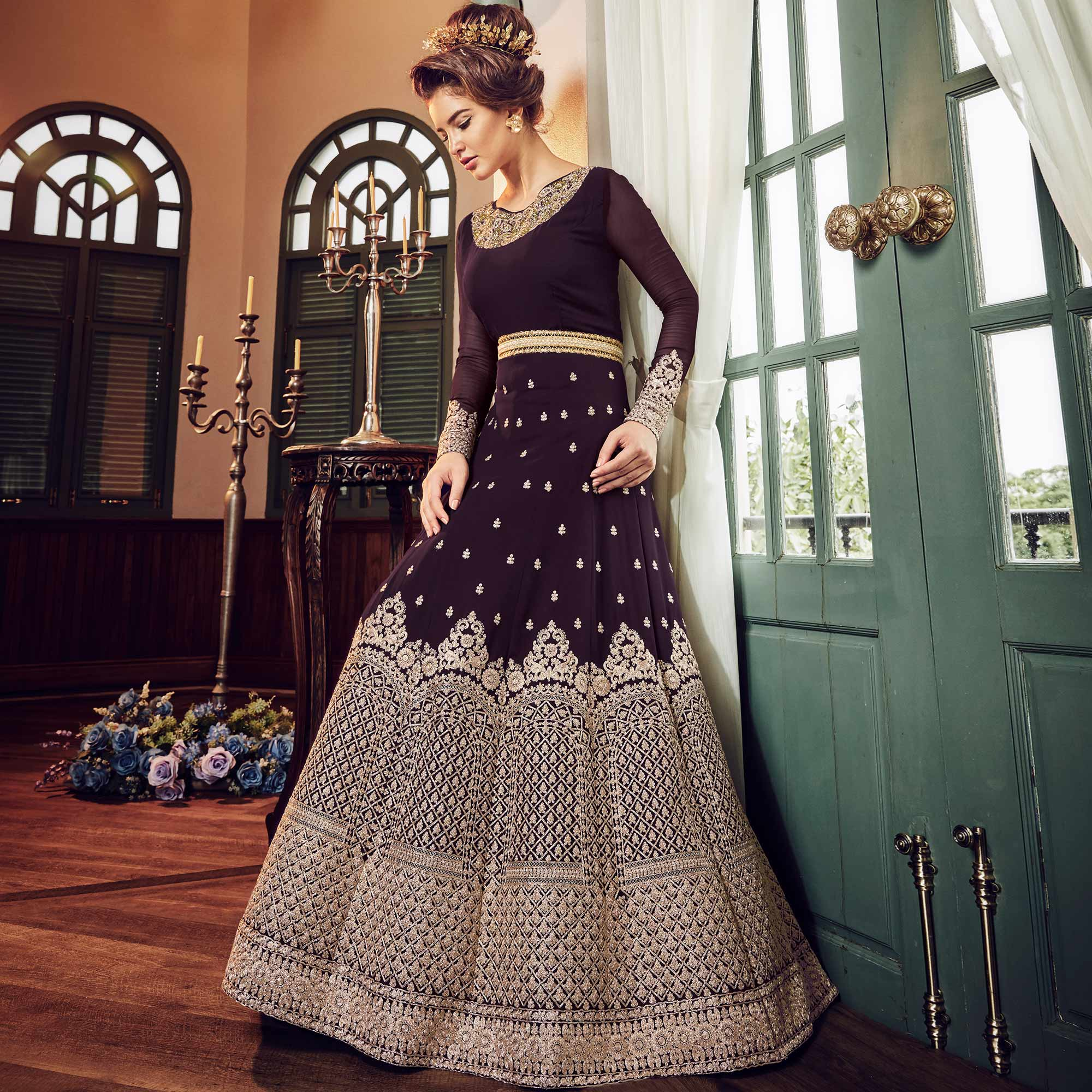 Mesmerising Wine Colored Wedding Wear Embroidered Georgette Anarkali Suit