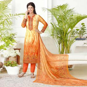 Gleaming Orange Colored Casual Printed Pure Cotton Suit