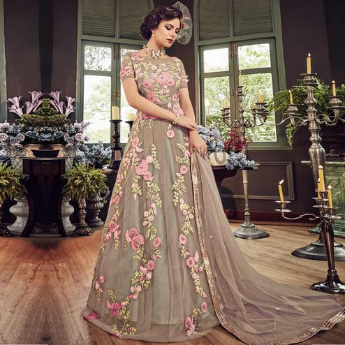 Eye-catching Grey Colored Wedding Wear Embroidered Net Anarkali Suit