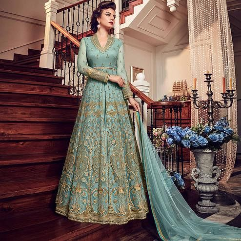 Amazing Aqua Blue Colored Wedding Wear Embroidered Net Lehenga Kameez