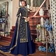 Exotic Navy Blue Colored Wedding Wear Embroidered Georgette Gown