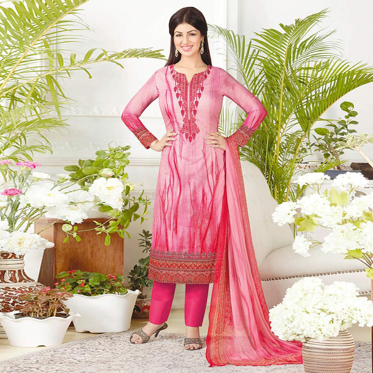 Stunning Pink Colored Casual Printed Pure Cotton Suit