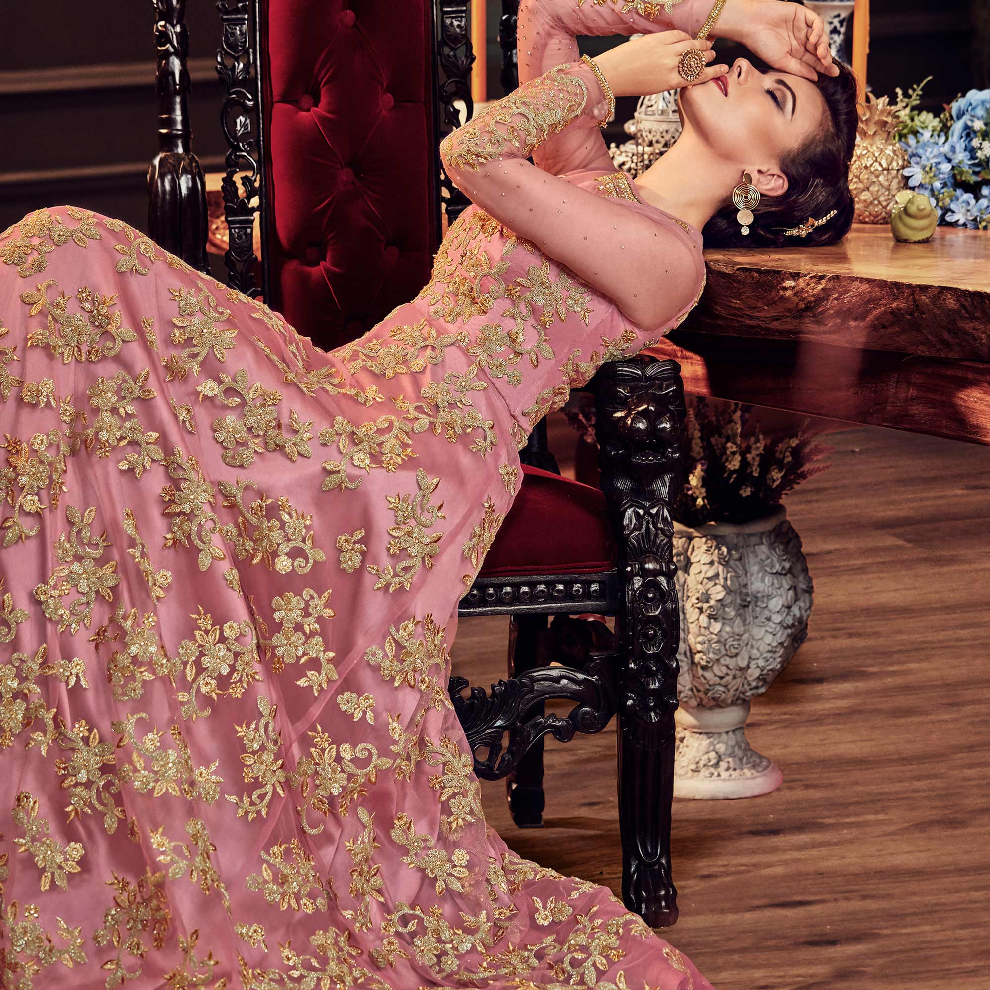 Preferable Pink Colored Wedding Wear Embroidered Net Anarkali Suit