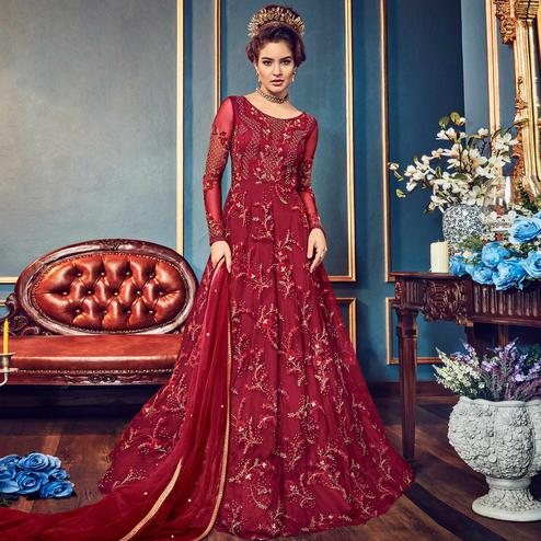 Attractive Maroon Colored Wedding Wear Embroidered Net Anarkali Suit