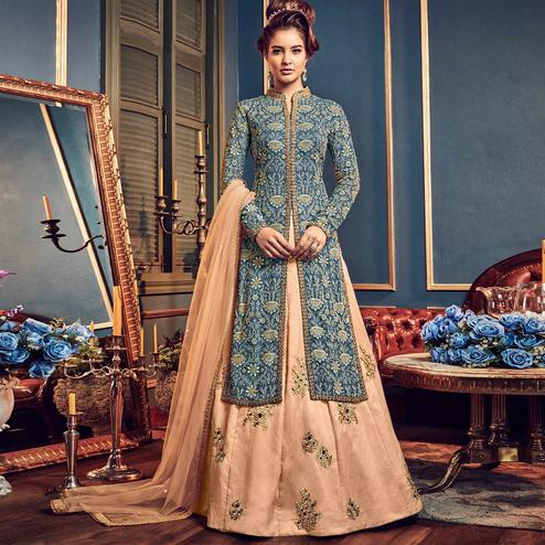 Beautiful light Teal Blue Colored Wedding Wear Embroidered Georgette Lehenga Kameez