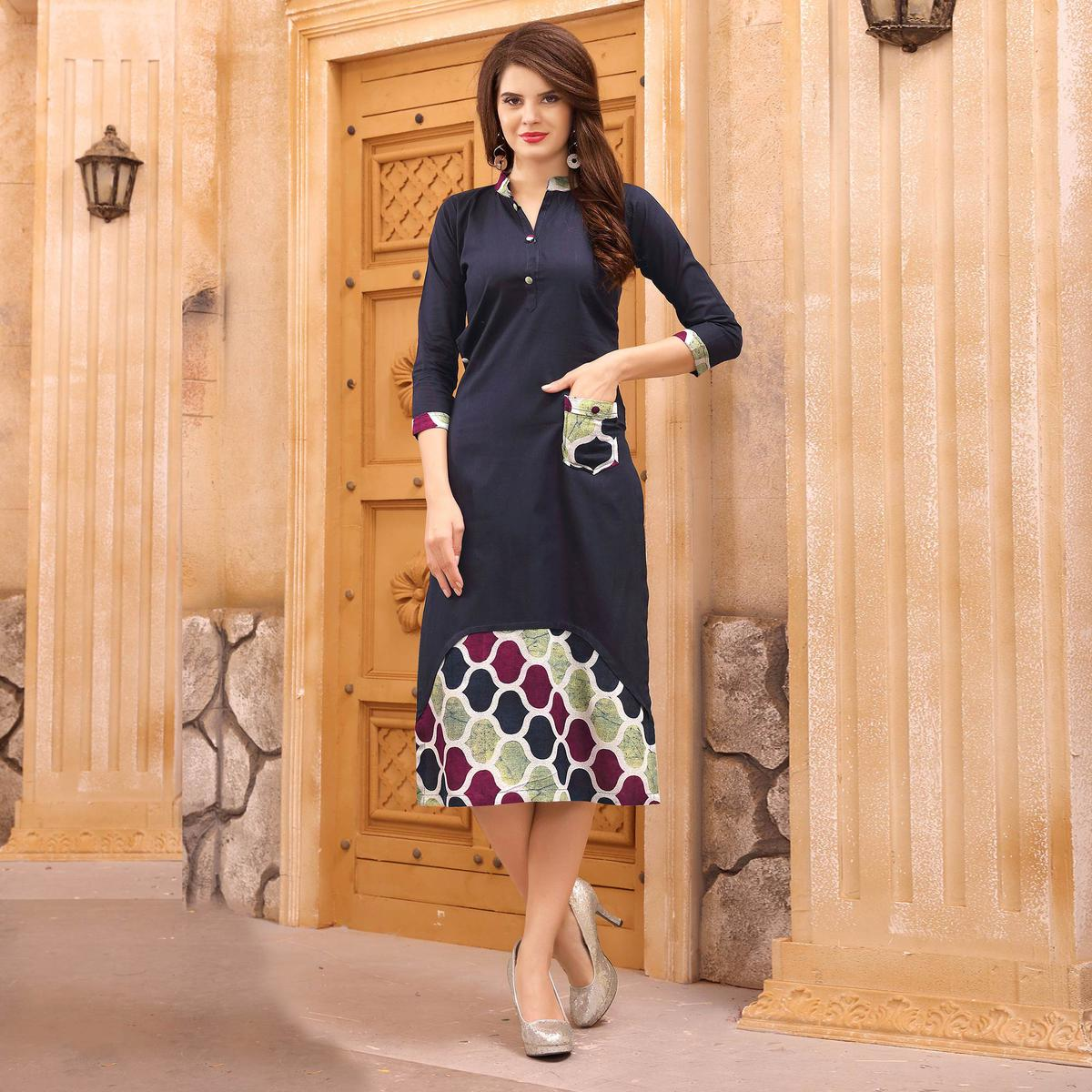 Beautiful Navy Blue Partywear Printed Cotton Kurti